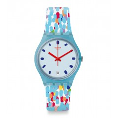 SWATCH Prikket Women's Watch Analoge Silicone Blue Dial GS401