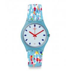 سواتش بريكت ساعة بناتي سوار سيليكون مينا لون ازرق GS401