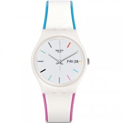 SWATCH Women's Silicone Watch Analoge White Band With White Dial GW708