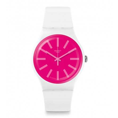 SWATCH Men's Silicone Watch White-Pink Band SUOW162