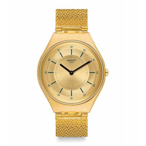 SWATCH Skindoro Unisex Watch Gold Dial Stainless Steel With Gold Band SYXG102M