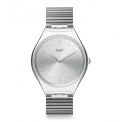 SWATCH Skinpole Unisex Watch Stainless Steel With Silver Band SYXS103GG