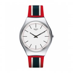 SWATCH Unisex Watch Red Silicone Band Analog SYXS114