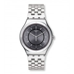 SWATCH Men's Watch Silver Band Black Dial YWS432G