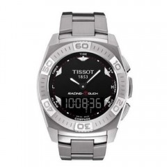 TISSOT Men's Black Dial Racing Touch Watch Silver Band T002.520.11.051
