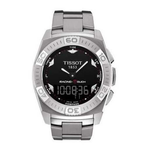 تيسوت ساعة رجالي استانلس ستيل لون سيلفر مينا لون اسود T002.520.11.051