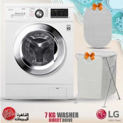 LG Washing Machine 7 Kg 1400 rpm With Steam Direct Drive 6 Motions White and Gifts FH4G6QDY2