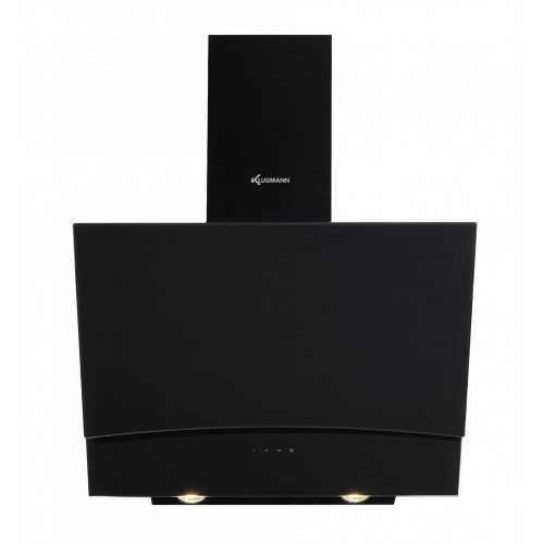 KLUGMANN Wall Mounted Inspired 90 cm Black Glass With LED Lights Cooker Hood With Touch Pad 850 m3/h Artifex