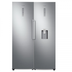 SAMSUNG Twinz Freezer 6 Shelves 315 Liters+Refrigerator 375 Liters Water Dispenser Silver Color RZ32M71107F + RR39M73007F