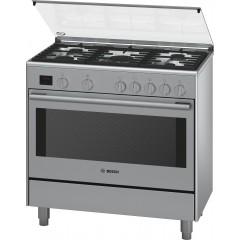 Bosch Gas Cooker 5 Burner 90*60 cm Stainless Steel Full Safety Digital: HSG738257M