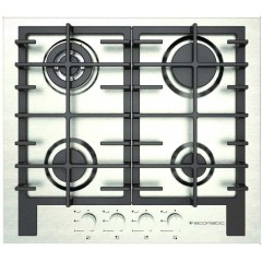 Ecomatic Built-In Hob 60 cm 4 Gas Burners Cast Iron Front Control Full Safety Stainless S623C