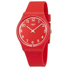 SWATCH Unisex Red Band With Red Dial Watch Analoge Silicone GR175