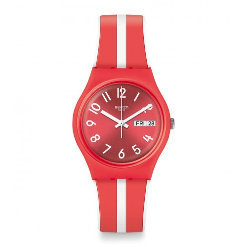 SWATCH Women's Red-White Band With Red Dial Watch Analoge Silicone GR709