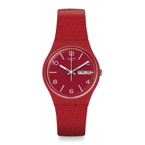 SWATCH Unisex Dark Red Band With Red Dial Watch Analoge Silicone GR710