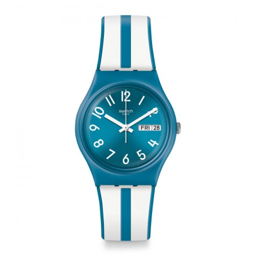 SWATCH Unisex Blue-White Band With Blue Dial Watch Analoge Silicone GS702