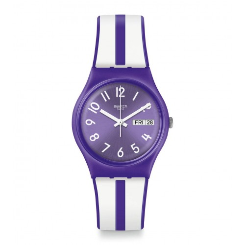 SWATCH Women's Purple-White Band With Purple Dial Watch Analoge Silicone GV701