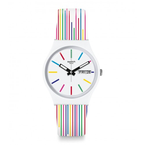 SWATCH Women's White Band With White Dial Watch Analoge Silicone GW712