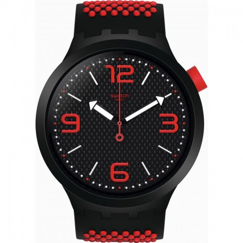 SWATCH Men's Watch Black-Red Silicone Band With Black Dial SO27B102