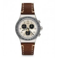 SWATCH Men's Watch Brown Leather Creame Dial YVS455