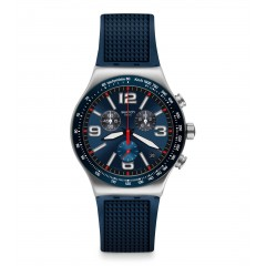 SWATCH Men's Watch Chronograph Blue Rubber Silver Dial YVS454