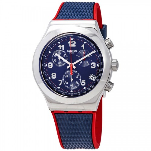SWATCH Men's Watch Chronograph Blue-Red Rubber Blue Dial YVS452