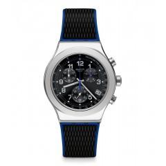 SWATCH Men's Watch Chronograph Black-Blue Rubber Black Dial YVS451