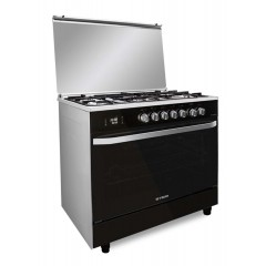 Fresh Gas cooker 5 Burners 80x55 cm With Fan Digital Touch Black Hummer80
