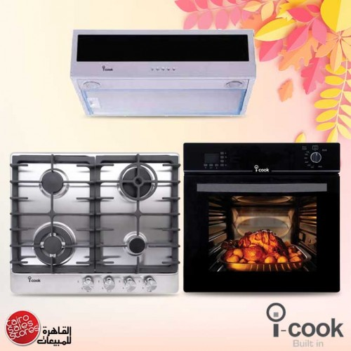iCook Built In Gas Hob 4 Burners and Built-In Gas Oven 60 cm and Hood Classic 60 cm 500 m3/h