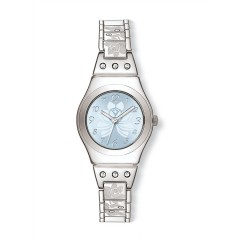 SWATCH Stainless Steel Ladies Watch Silver Band Blue Dial YSS222G