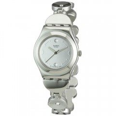 SWATCH Stainless Steel Ladies Watch Silver Band White Dial YSS213G