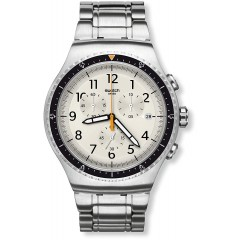 SWATCH Stainless Steel Men's Watch With Beige Dial YOS453G