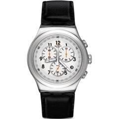 SWATCH Leather Men's Watch Black Band With White Dial YOS451