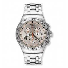 SWATCH Men's Stainless Steel Chronoghraph Watch With Silver Dial YOS445G