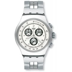 SWATCH Wealthy Star Men's Stainless Steel Chronoghraph Watch With Silver Dial YOS401G