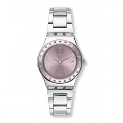 SWATCH Stainless Steel Ladies Watch Silver Band Pink Dial YLS455G