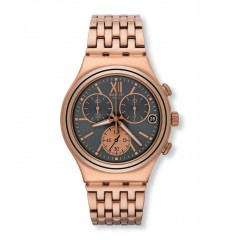SWATCH Irony Stainless Steel Men's Chronoghraph Watch Rose Gold Band With Gray Dial YCG412G