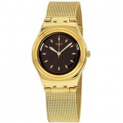 Swatch Women's Watch Gold Band With Brown Dial Stainless Steel YLG133M