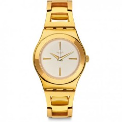 Swatch Goldnli Women's Watch Gold Band With Beige Dial Stainless Steel YLG134G