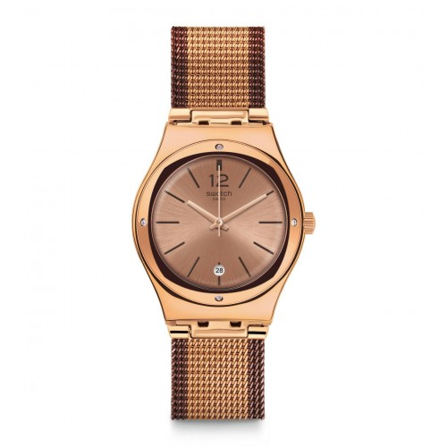 Swatch Women's Watch Brown Band With Brown Dial Stainless Steel YLG408M