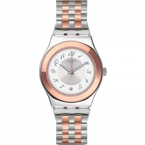 Swatch Unisex Quartz Analog Watch Rose Gold*Silver Band With Silver Dial Stainless Steel YLS454G