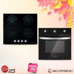 Ecomatic Built-in Gas Oven 60cm With Gas Grill & Fan Crystal Black G6104GT