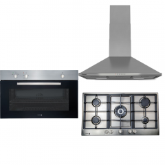 Fagor Gas Oven 90cm with Electric Grill and Gas Hob 5 Burner 90cm and Bompani Kitchen Chimney Hood 90cm 550 m3/h 6H-902XG