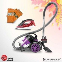 Black & Decker Vacuum Cleaner 1800 W and Steam Iron 1600 W and Cotton and More Kitchen Towel 3 Pieces VM1880