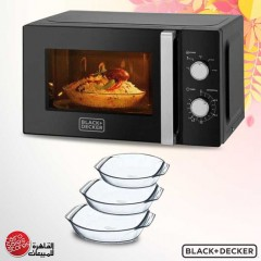 Black & Decker Microwave with Timer 20 Liter and Pyrex Oven Pan Set 3 pieces MZ2010P
