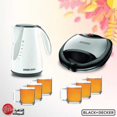 Black & Decker 2 Slots Sandwich Maker With Grill and Kettle 1.7 L 2000W and LUMINARC Cups Set 6Pieces TS2090