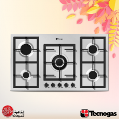 Tecnogas Built-In Gas Hob 90 cm 5 Burners Cast Iron Stainless PN90GVF5TGX