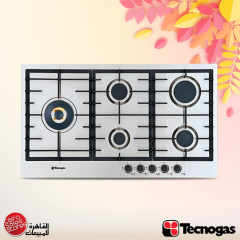Tecnogas Built-In Gas Hob 90 cm 5 Burners Cast Iron Stainless Steel: PN90GVF5LGX