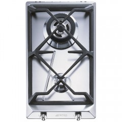 SMEG Gas Hob 30 cm 2 Burners Cast Iron Stainless Steel SRV 532 GH