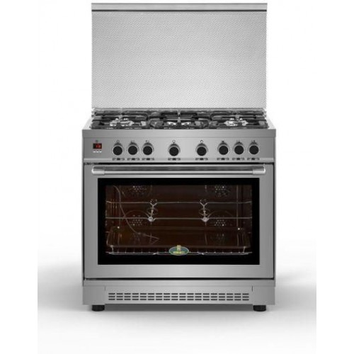 KIRIAZI Gas Cooker 90*60 cm 5 burner Digital Iron Cast With Dual Fan Stainless : 90FC9 SMART