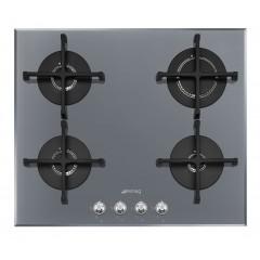SMEG Built In Glass Hob Gas 4 Burners 60 cm Cast Iron Silver PV 164 S2